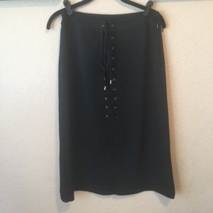 Who What Wear Tie Up Black Pencil Skirt Sz 2